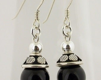 Genuine Onyx Sterling Silver Earrings 69