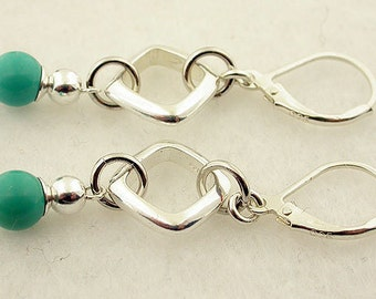 Turquoise Sterling Silver Lever Back Earrings 28