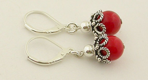 Red Coral Lever Back Sterling Silver Earrings 15