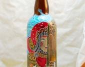 Painted decorative upcycled bottle - Firebird - Glass art