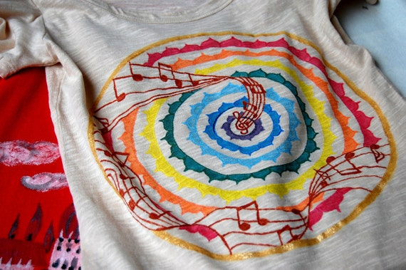 Hand painted T-shirt RESERVED FOR Nika Ehrenberg - Musical mandala