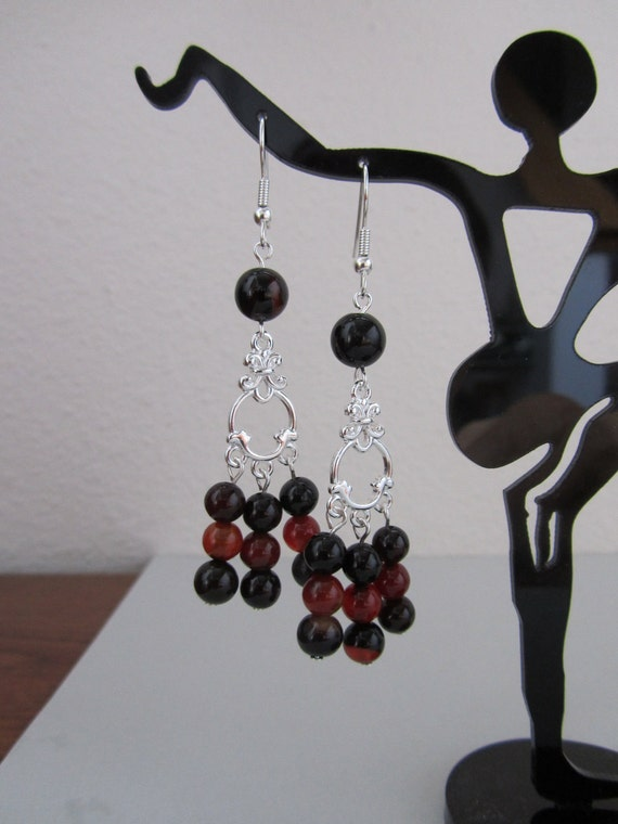 Black Red Agate Chandelier Earrings