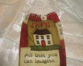 Dish Towel with White  Crochet Topper - Inspirational - Hope