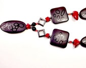 Charcoal Stone, Red and Black Beaded Necklace