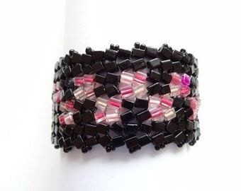 Black and Pink Cubes in Handwoven Bracelet Cuff