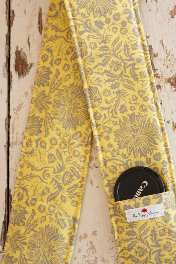 Camera Strap Cover- lens cap pocket and padding included- Yellow and Gray Lace