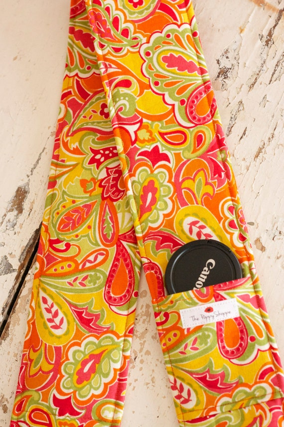 Camera Strap Cover- lens cap pocket and padding included- Summer Burst