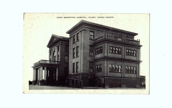 Vintage spooky black and white linen postcard of Good Samaritan Hospital, Rugby, North Dakota