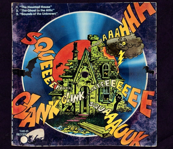 1970s cereal box record with Haunted House, Ghost in the Attic stories