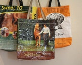 Recycled horse feed market bag.