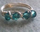 indicolite Swarovski Crystal ring 5 1/2
