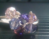 Swarovski Crystal wire wraped ring purple cluster size 8