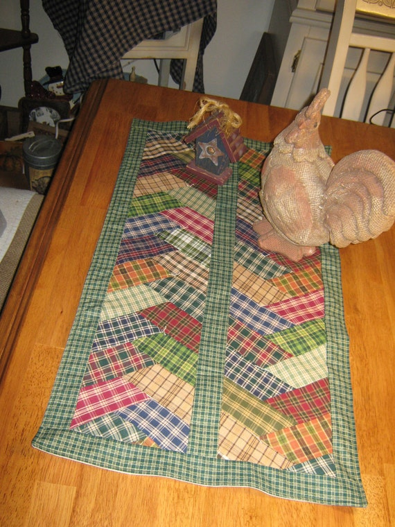 "Primitive OOAK Quilt Pieced  Artist Original Lg. Braided HomeSpun Candle Mat  Prim  ""  Country Folk Runner"