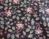 Flowered Cotton   Fabric - 1 yd x 44/45 inches - Black Green Burgundy Print