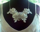 Bridal Statement Necklace - Rhinestone and Lace - A Bijoux Bridal Chicago Signature Design