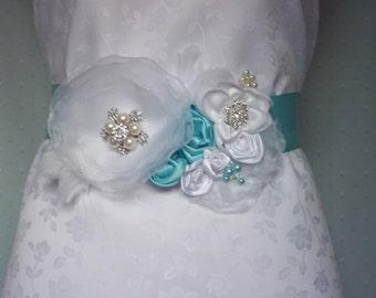 Aqua and White Bridal Sash - Aqua/Turquoise Wedding Sash/Belt - Beach Wedding - A Bijoux Bridal Chicago Signature Design