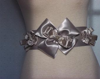 Platinum Wedding Sash - Bridal Sash in Luxurious Silver Platinum Gray - A  Bijoux Bridal Chicago Signature Design
