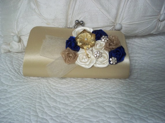Wedding Clutch - Bridal Clutch in Gold, Navy and Ivory - Gold Bag - Bridesmaid Gift