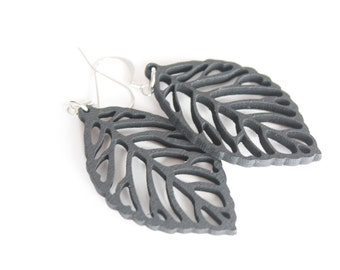 Black Wooden Leaf Dangles