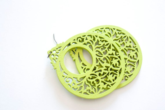 Apple Green Vintage Style Wooden Dangles