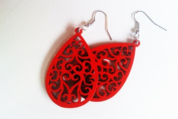 Red Wooden Dangles