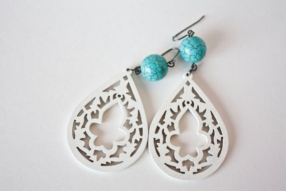 White Wooden Lotus Flower Dangles With Turquoise Bead