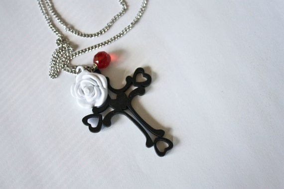 Black Wood Cross Necklace With White Flower