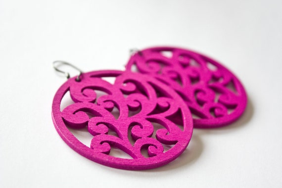 Hot Pink Grass  Wooden Dangles