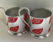 Set  of  2 Vintage Tea Glass Holders - Podstakannik, silver tone with red leafs