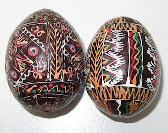 2 Vintage Wooden handpainted  Easter  Eggs,  pysanky eggs. Vintage Pysanka, Ukrainian Easter eggs