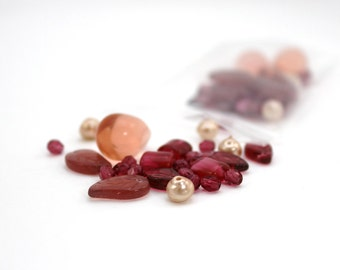 red bead mix destash beads glass red peach pink pearl leaves square beads leaf beads raspberry