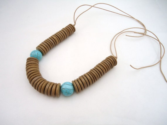 turquoise leather necklace wood and leather necklace beige natural blue magnesite chunky necklace statement necklace