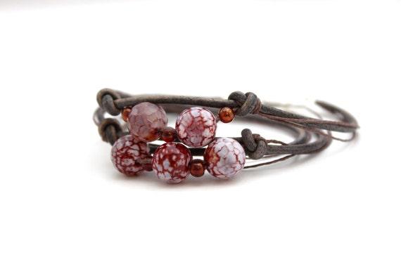 leather wrap bracelet purple agate bracelet leather bracelet hemp bracelet indie bracelet stacking bracelet