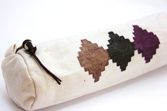 canvas pencil case navajo hand painted canvas pouch tribal south american zipper pouch cosmetics