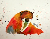 "Walrus - Original watercolor painting by artist Connie Beattie. Size 10"" x 15"" on illustration board"