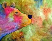 "Tie Dye Bear - Original watercolor painting by artist Connie Beattie. Size 10"" x 15"" on Japanese Masa Paper"