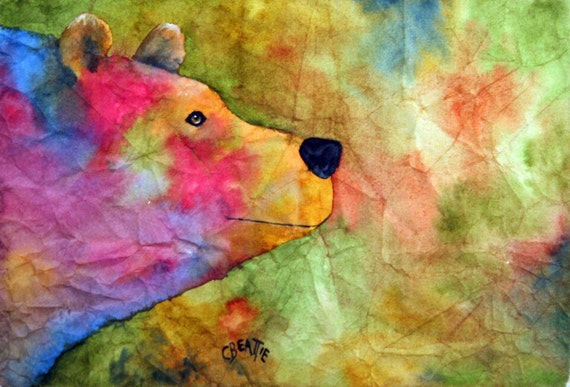 """Tie Dye Bear - Original watercolor painting by artist Connie Beattie. Size 10"""" x 15"""" on Japanese Masa Paper"""