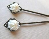 White Flower bobby pins set of two flower girl