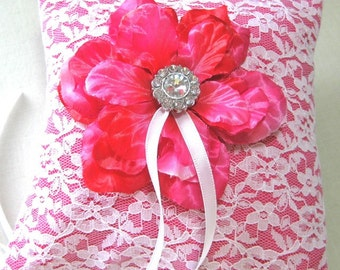 Bridal Ring Bearer Pillow in Hot Pink and white lace with pink flower and rhinestone center
