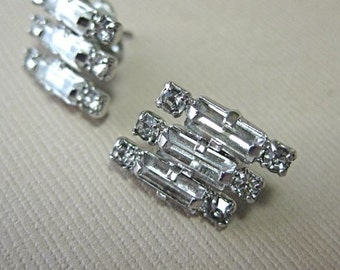 Vintage Rhinestone Earrings, with post backs, bridal earrings, special occasion jewelry