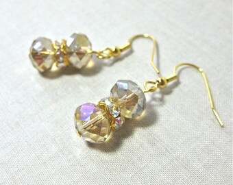 Crystal Earrings in Champagne Color with Rhinestones