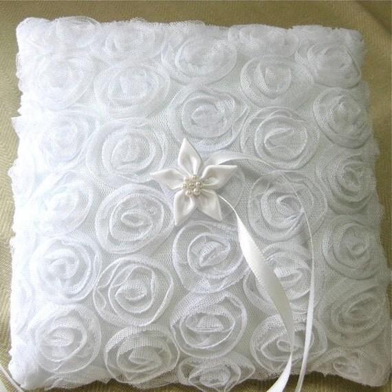 White Ring Bearer Pillow in rose covered fabric, wedding ring pillow.
