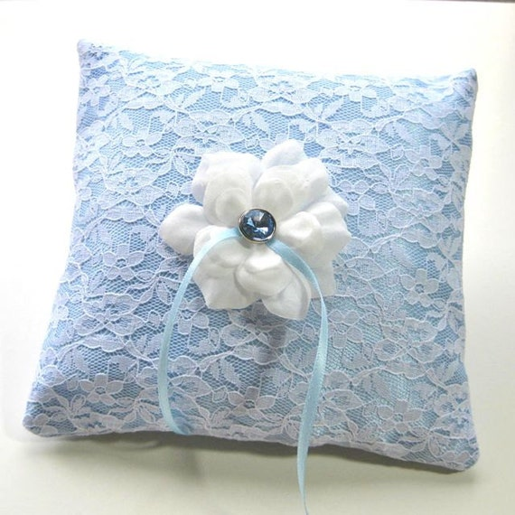 Ring Bearer Pillow Blue Satin in White Lace with white rose center, wedding pillow
