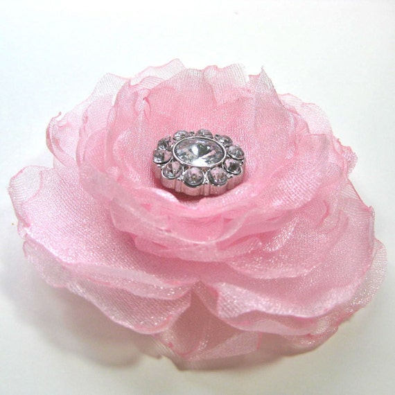 Pink Flower Hair Adornment, Fascinator with Rhinestone Center, Prom hair accessory