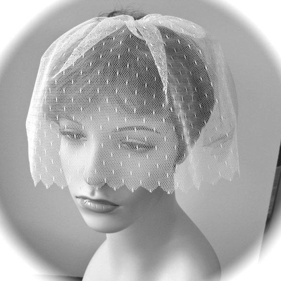 White Bridal Birdcage Blusher Veil