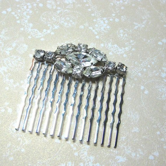 Vintage Rhinestone on Silver Bridal Hair Comb