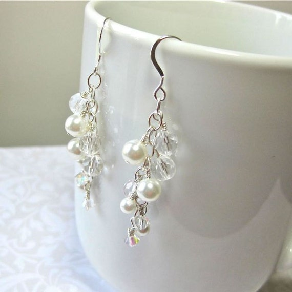Sterling Silver, Pearl and Crystal Bridal dangle earrings. Wedding jewelry.