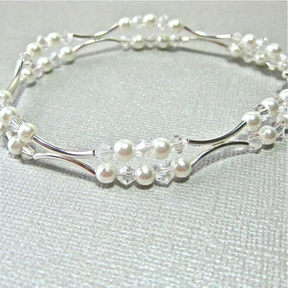 Bridal Bracelet of White Pearls and Crystals with sterling silver tube beads