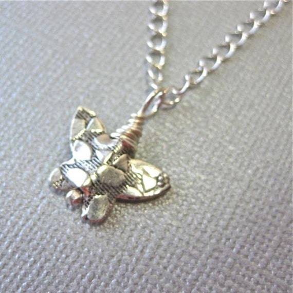 Sterling Silver Butterfly Necklace on Chain, Wedding party gift.