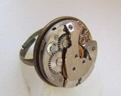 Sale - Unisex Steampunk  Ring with vintage watch movement and vintage coin.  Gift under 25 dollars